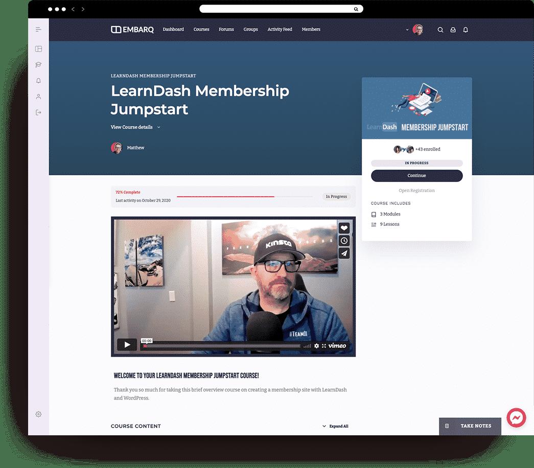 membership course page