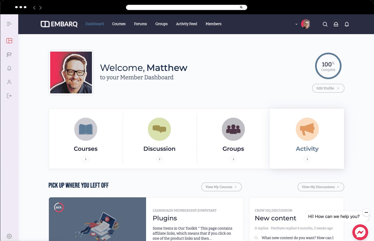 membership site dashboard
